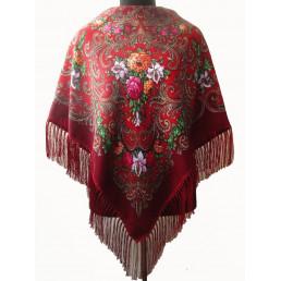 Платок Полина бордово-красный