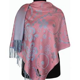 Палантин Прекраса розовый-серо-голубой (товар по сниженной цене)
