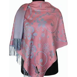 Палантин Прекраса розовый-серо-голубой